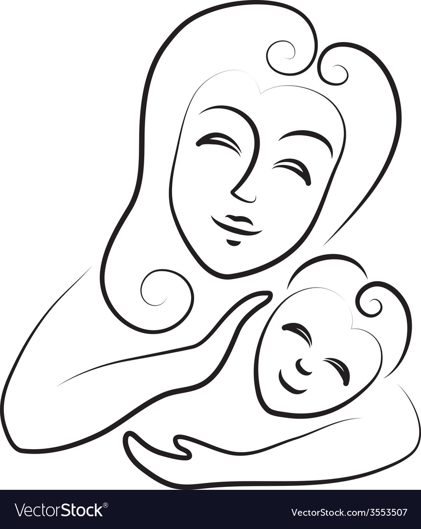 Mum with the child icon on white background vector image