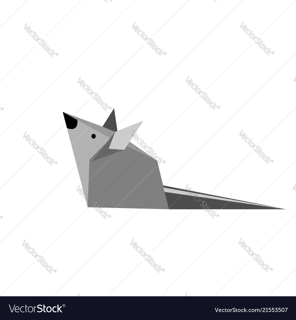 Origami paper gray mouse on