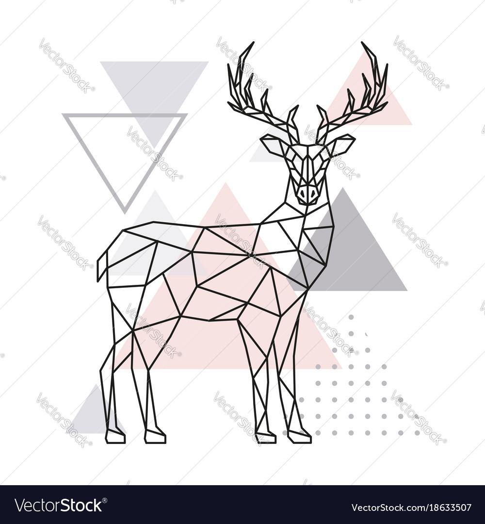 Scandinavian deer side view geometric