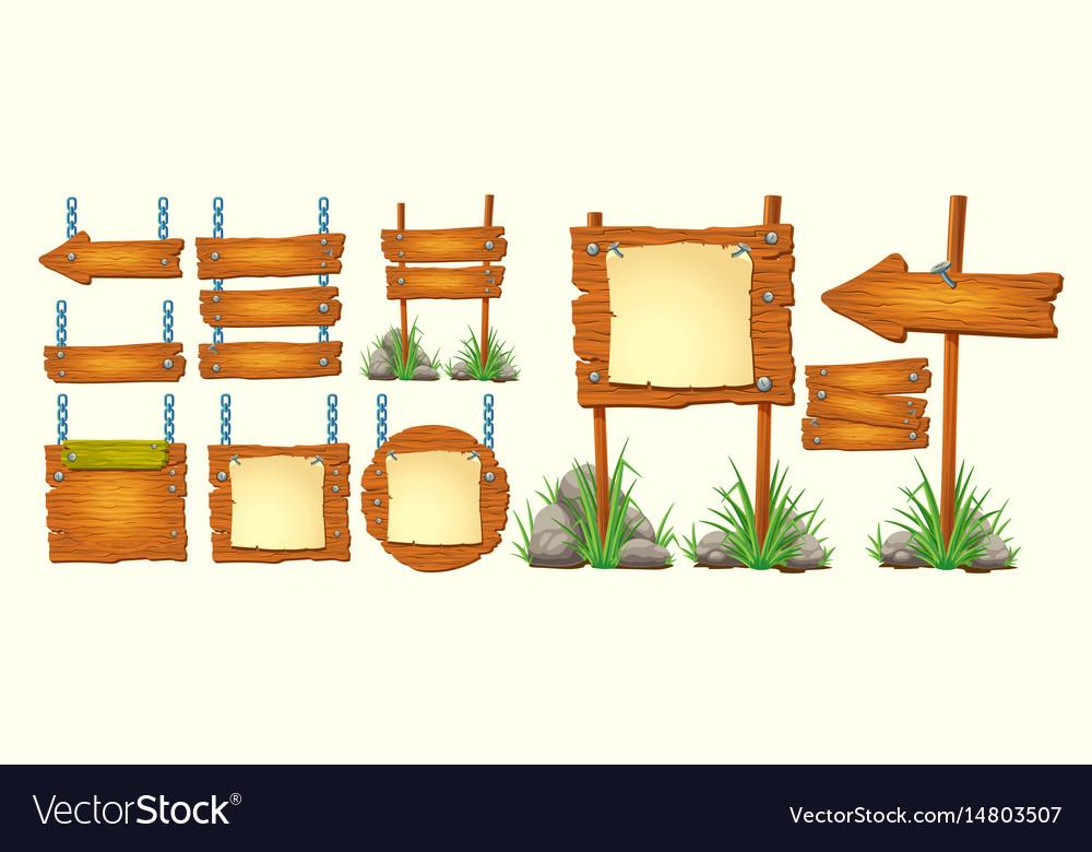 Set cartoon wooden signs