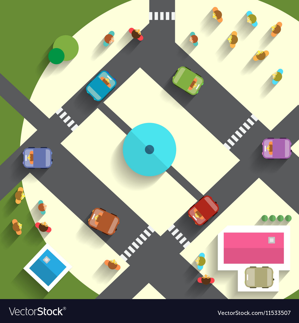 Top View Streets and Cars
