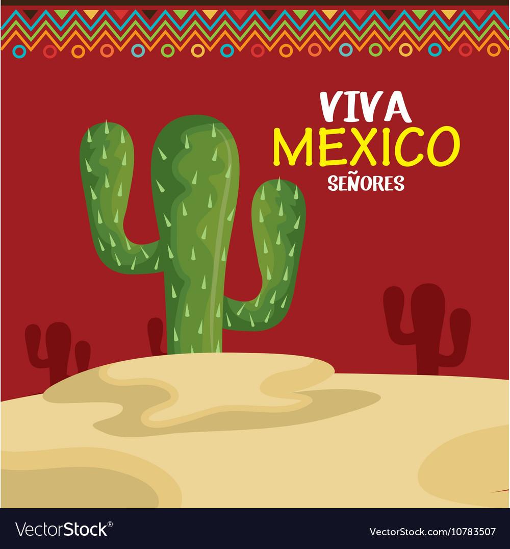Viva mexico cactus symbol design