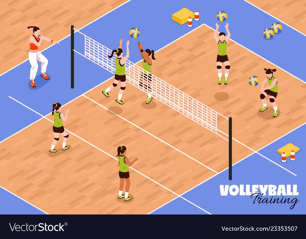 Volleyball kids team background