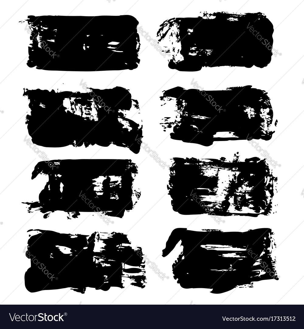 Abstract big black long textured brush strokes vector image