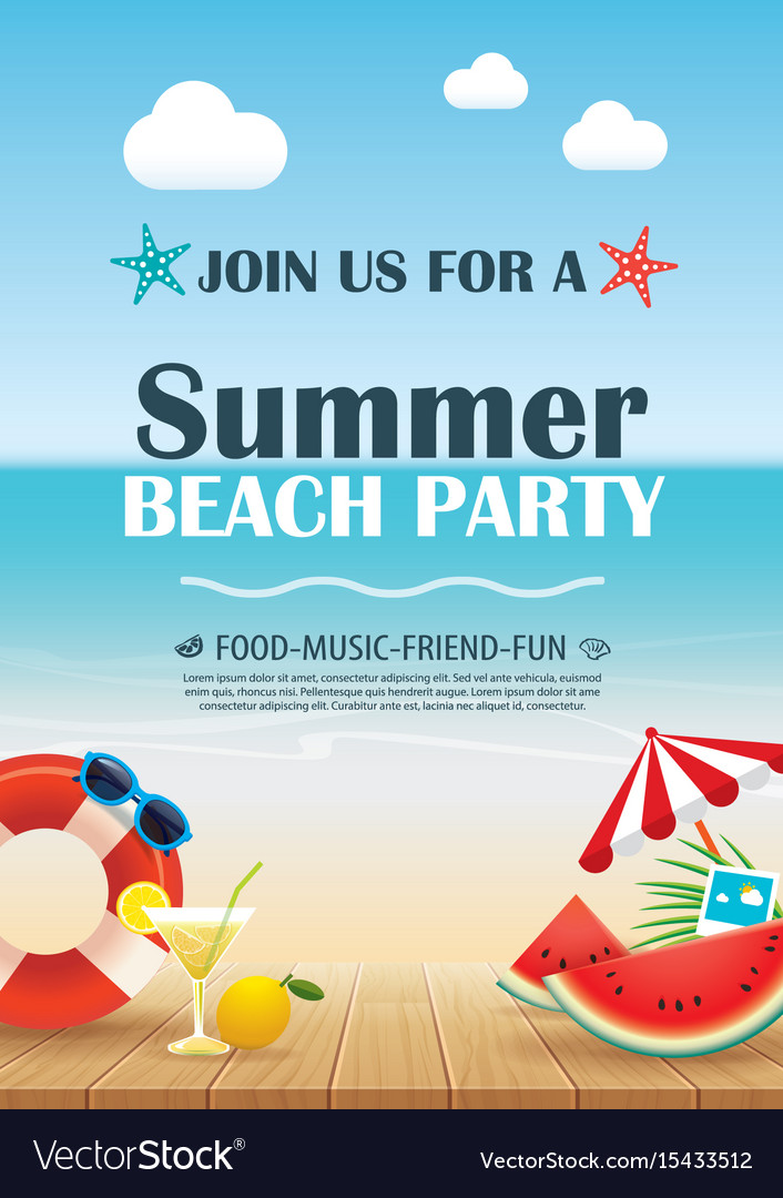 Beach party invitation poster with vacation
