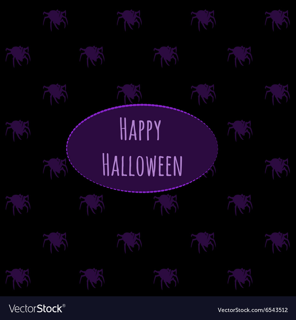 Happy Halloween on a dark background with spiders