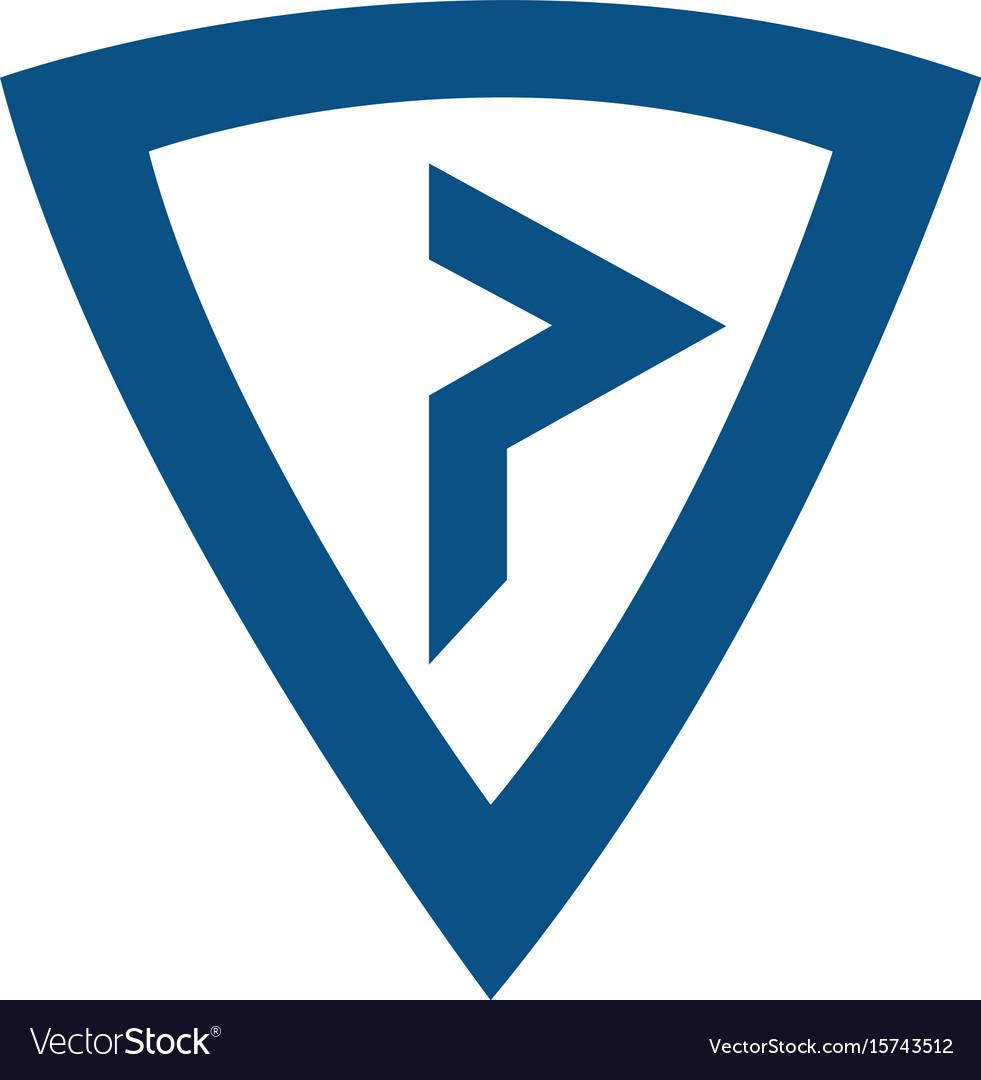 P modern business letter logo design vector image