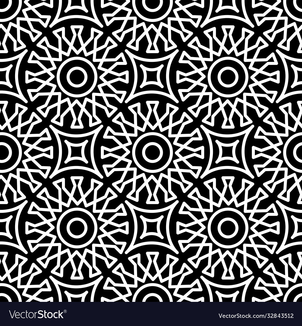 Seamless geometric pattern in arabic style black