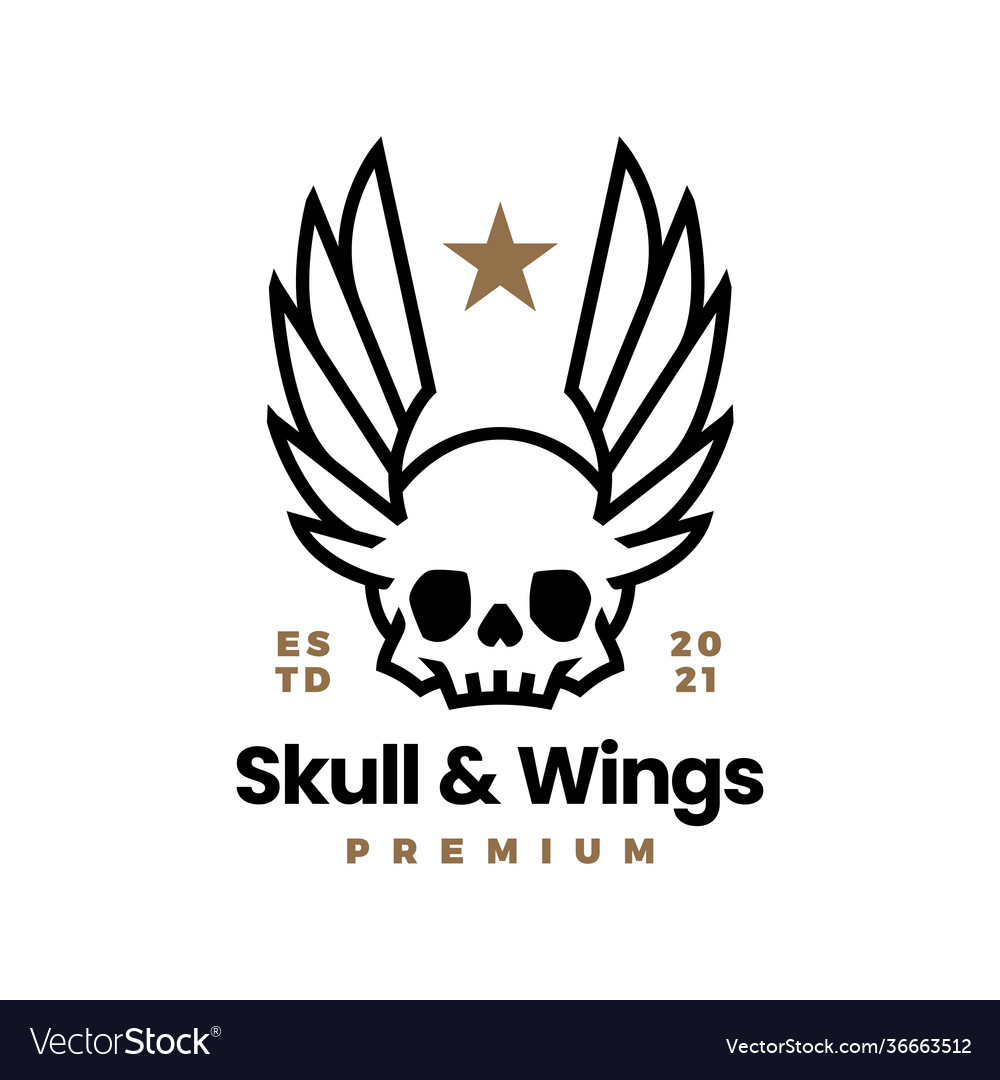 Skull and wings t shirt logo icon