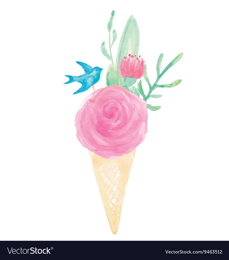 Watercolor Flower Bouquet Cone Vase Set Royalty Free Vector