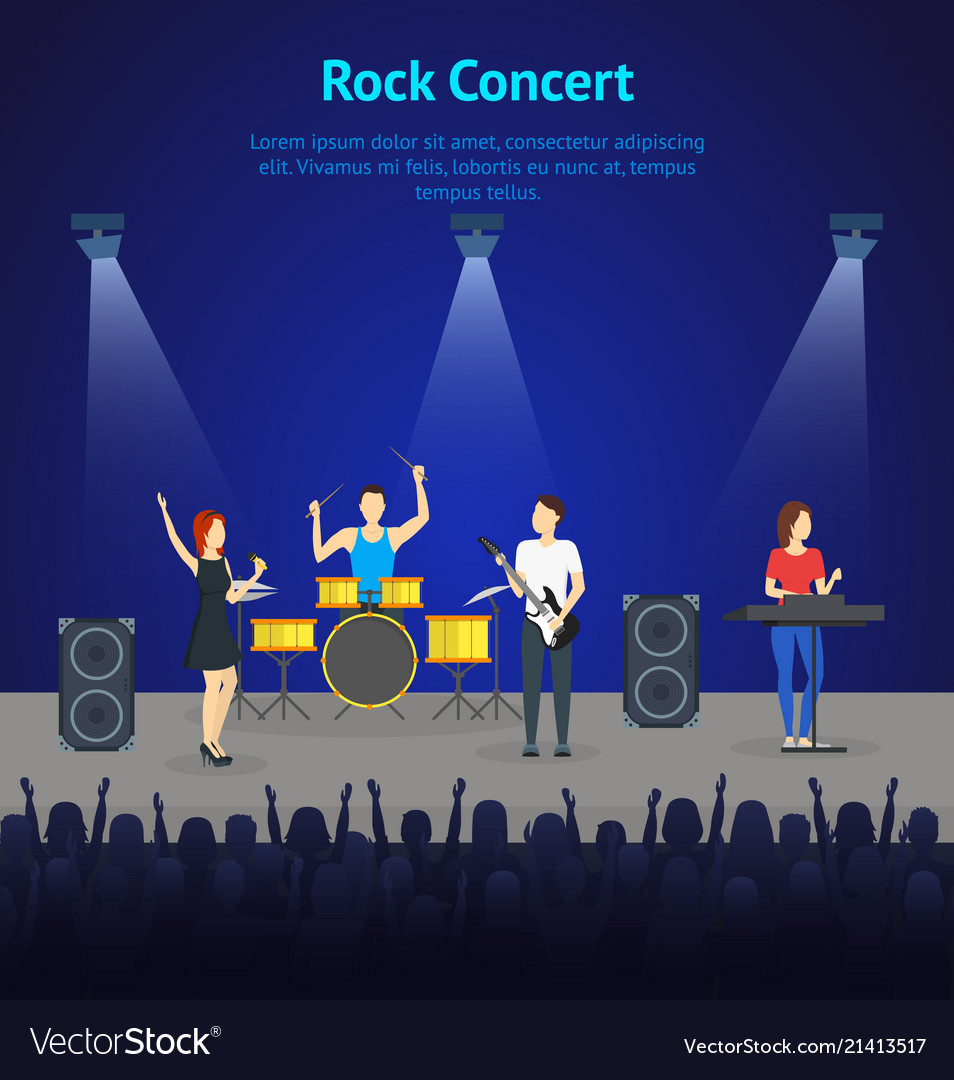 Cartoon music band on stage card poster