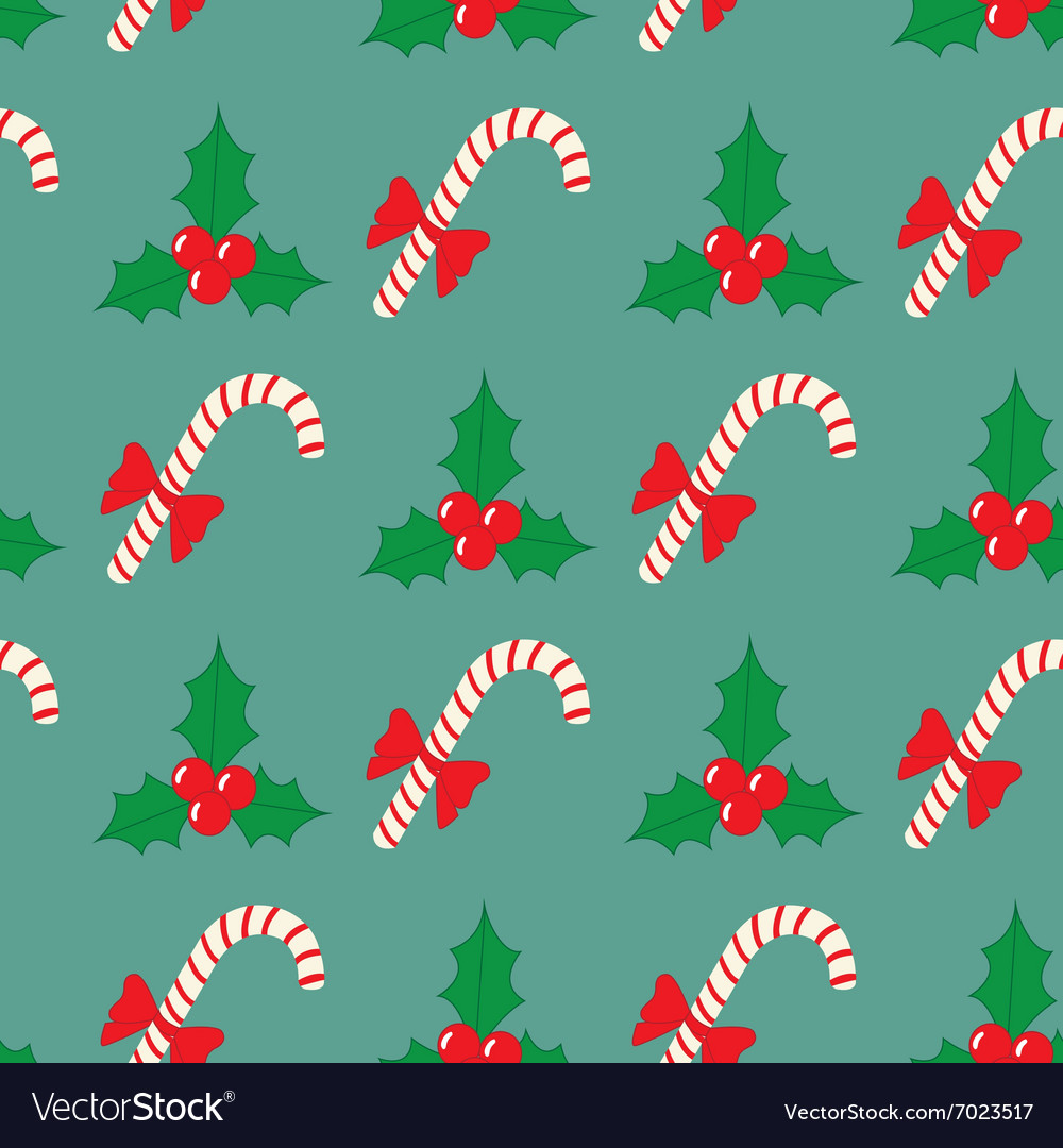 Christmas seamless pattern with berries and