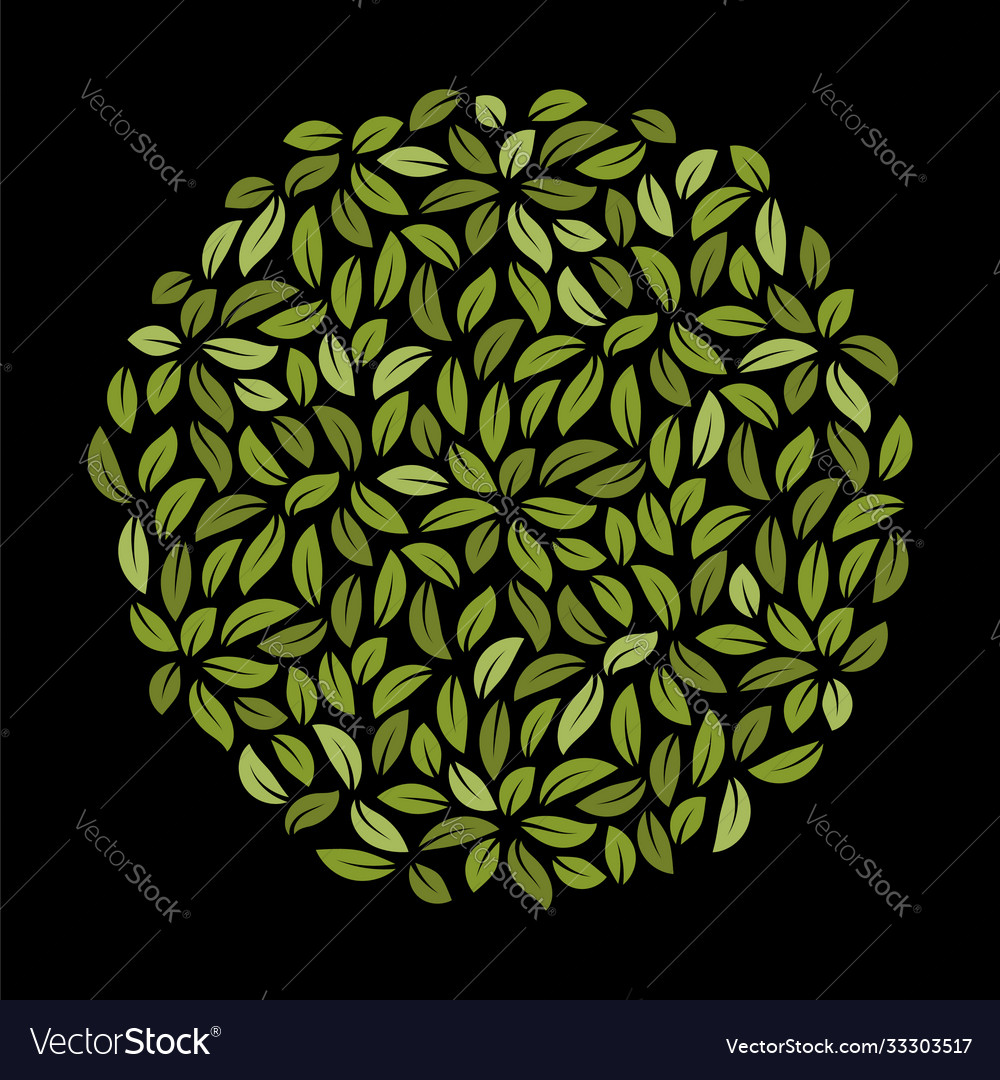 Circle with green leaves template foliage pattern