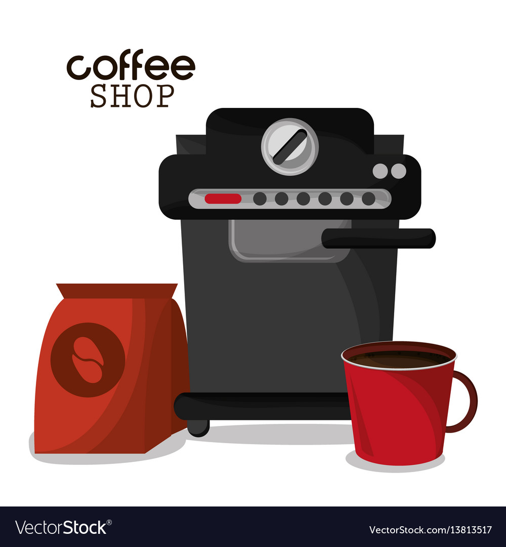 Coffee shop machine bag and red cup vector image