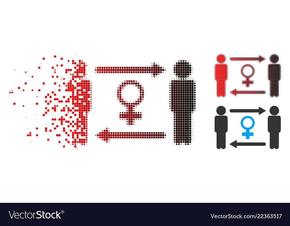 Dissolving dot halftone swingers exchange female
