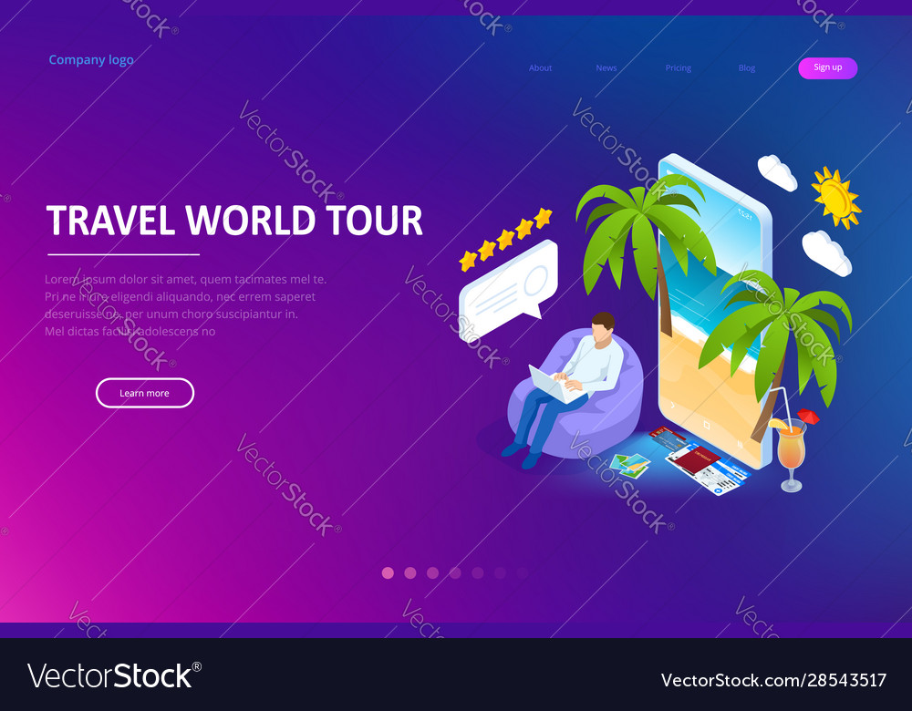 Isometric tourism and booking app concept travel