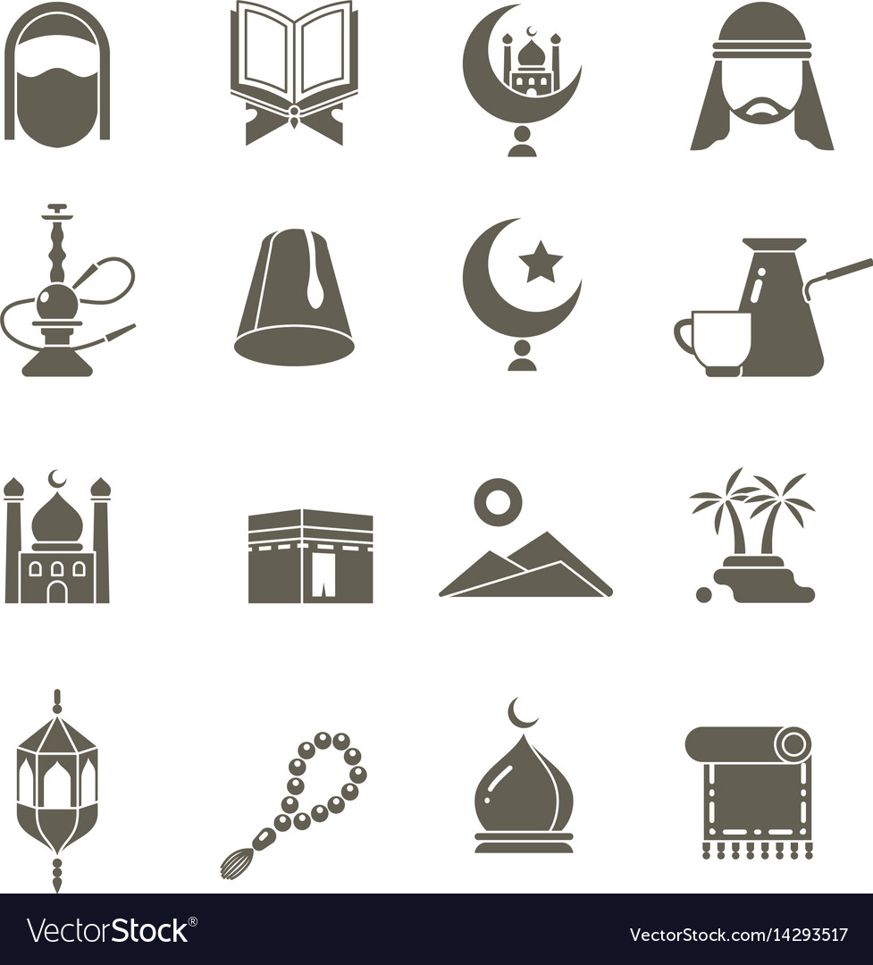 Muslim islamic middle east religion icons