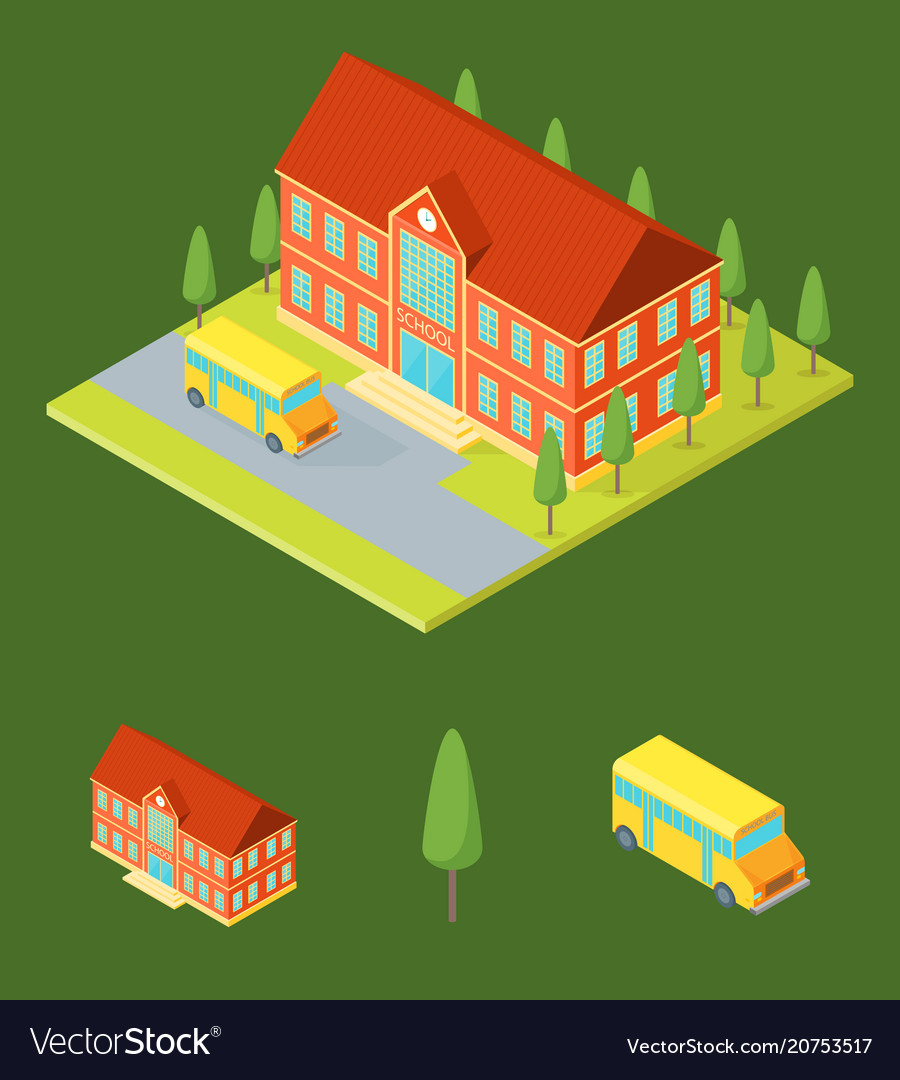 School building and elements part isometric view vector image