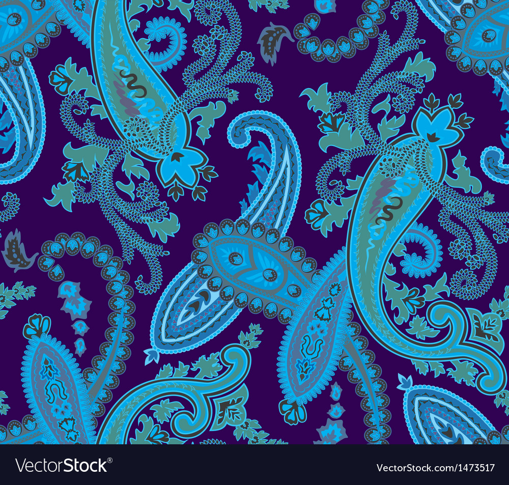 Seamless paisley background Blue colors