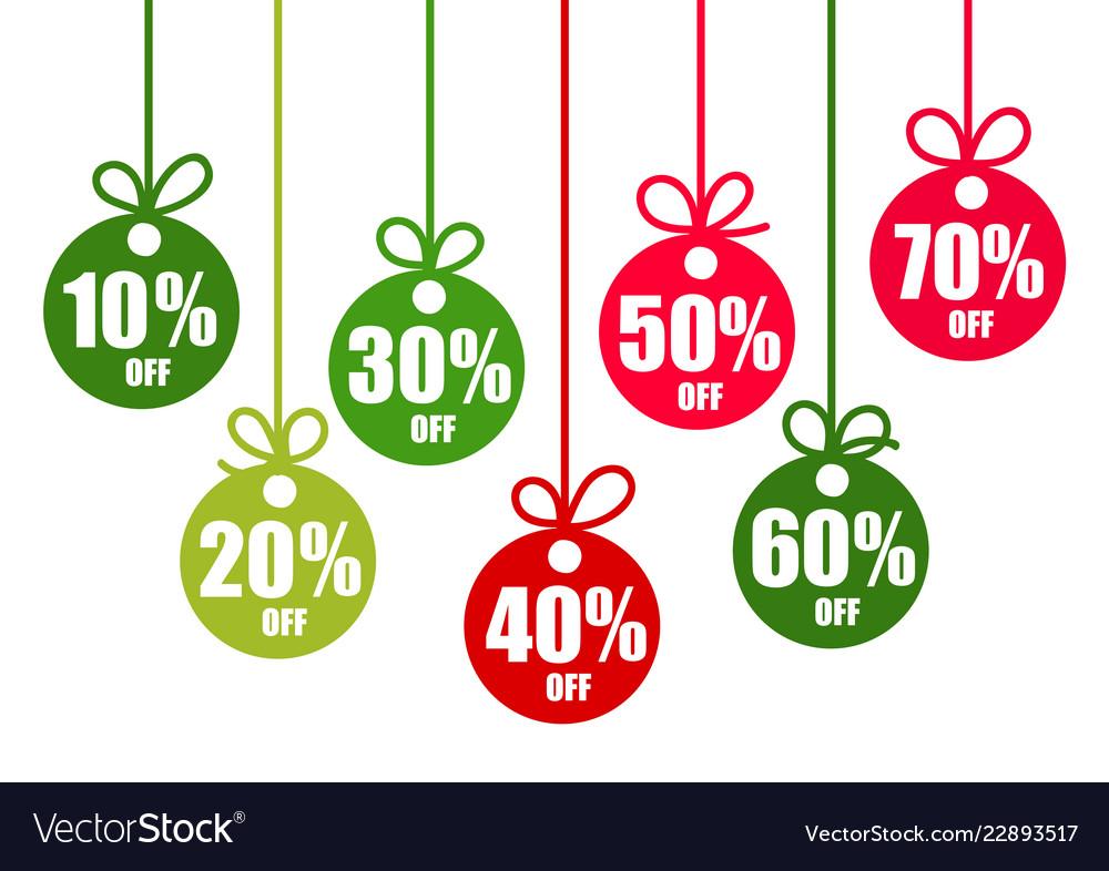 Set discount tags 10203040506070 percent