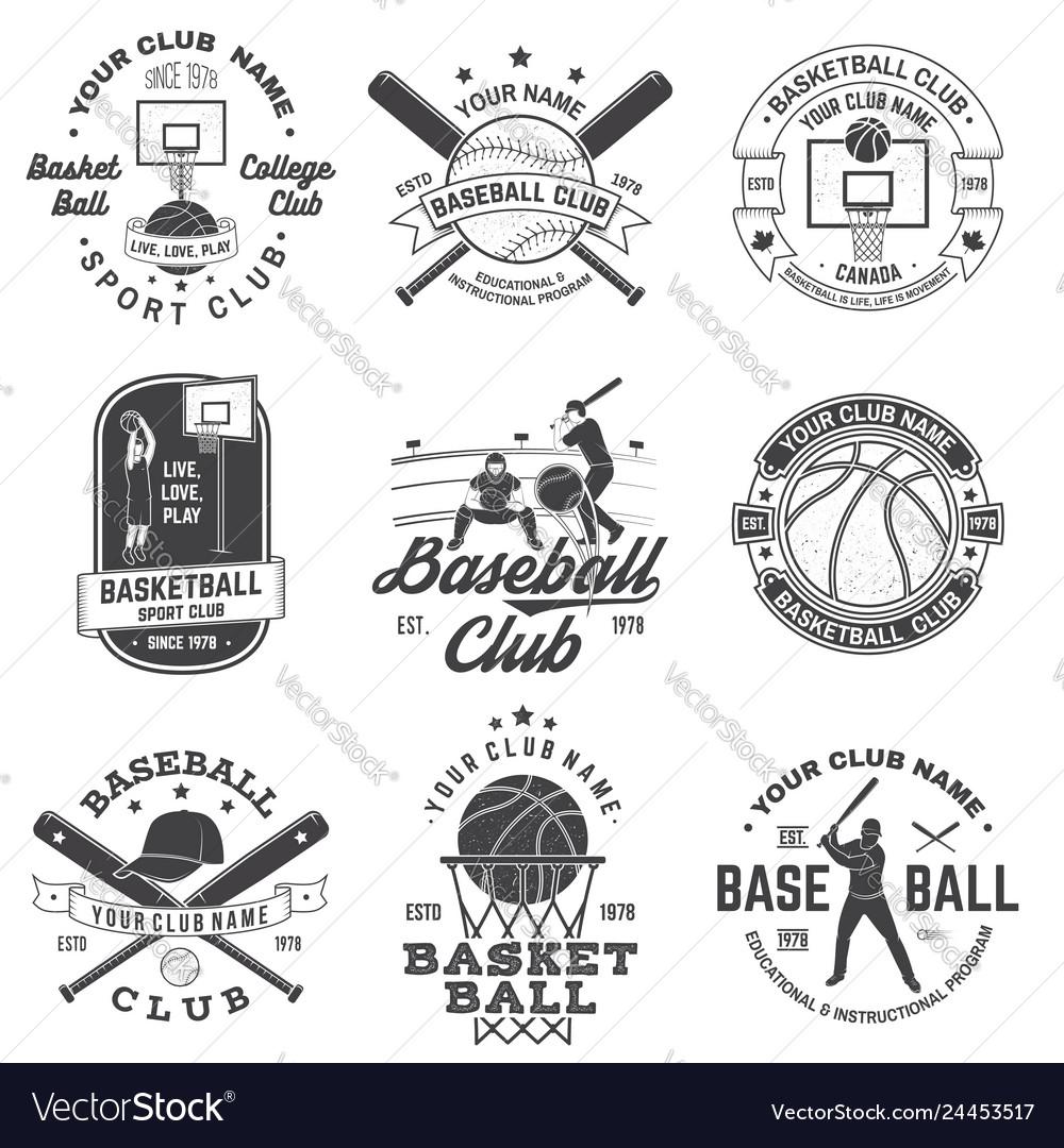 Set of basketball and baseball badge emblem