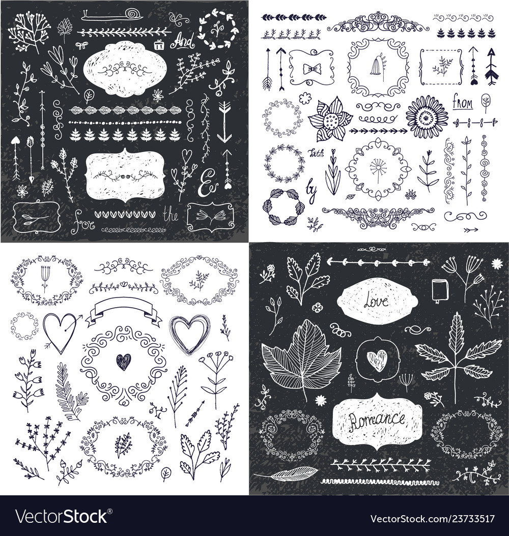 Set of hand drawn doodle branches frames