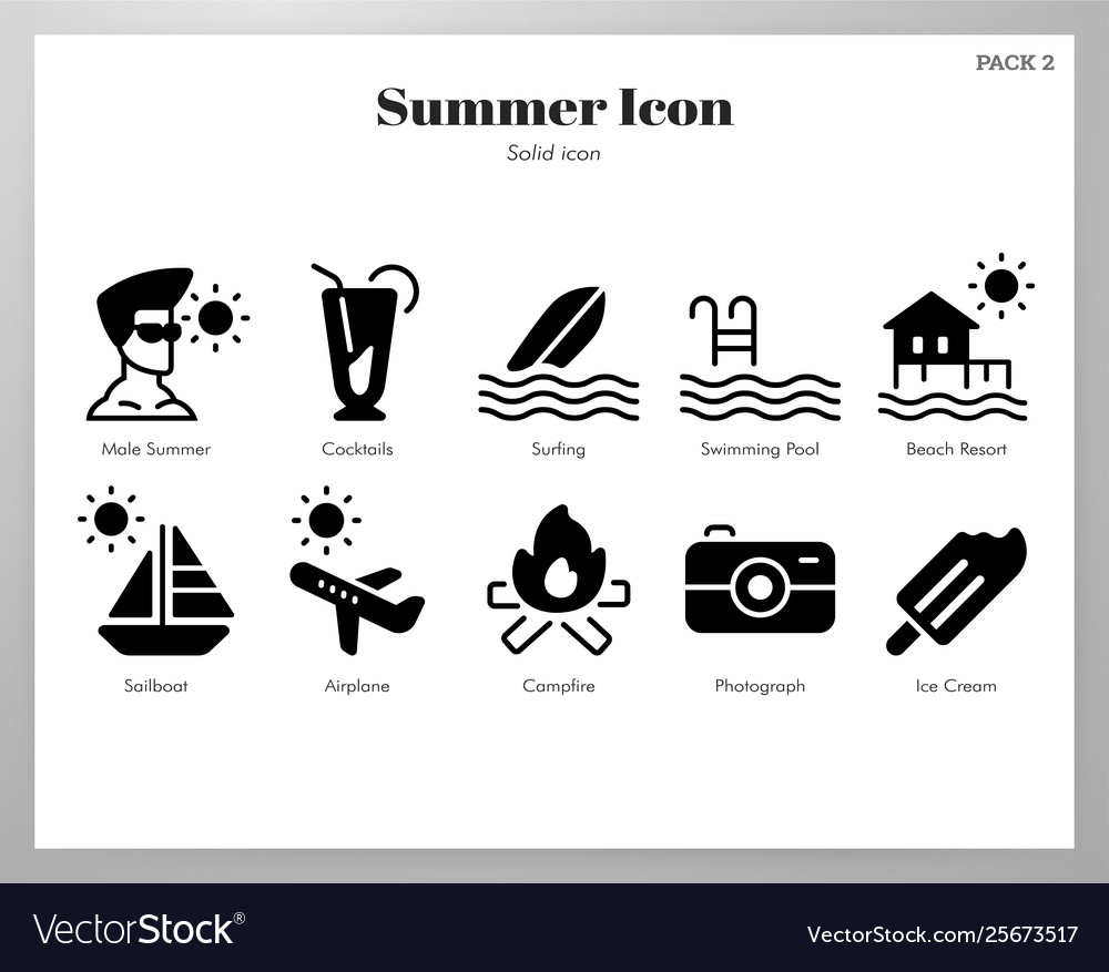 Summer icons solid pack