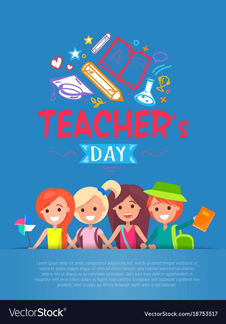 Teachers day blue placard