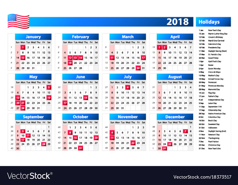 Usa Calendar 2018 Official Holidays And Vector Image