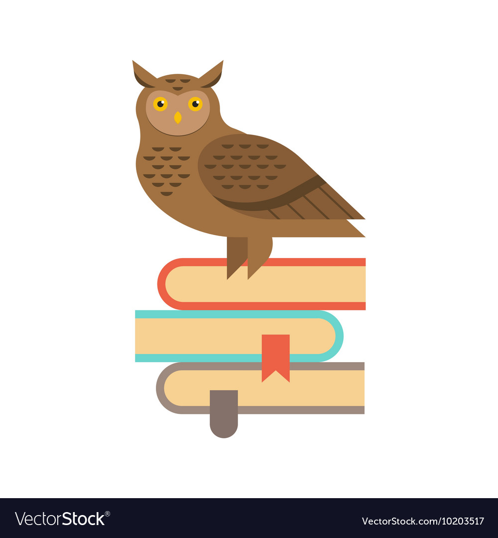 Wise owl sitting on the stack of books Education