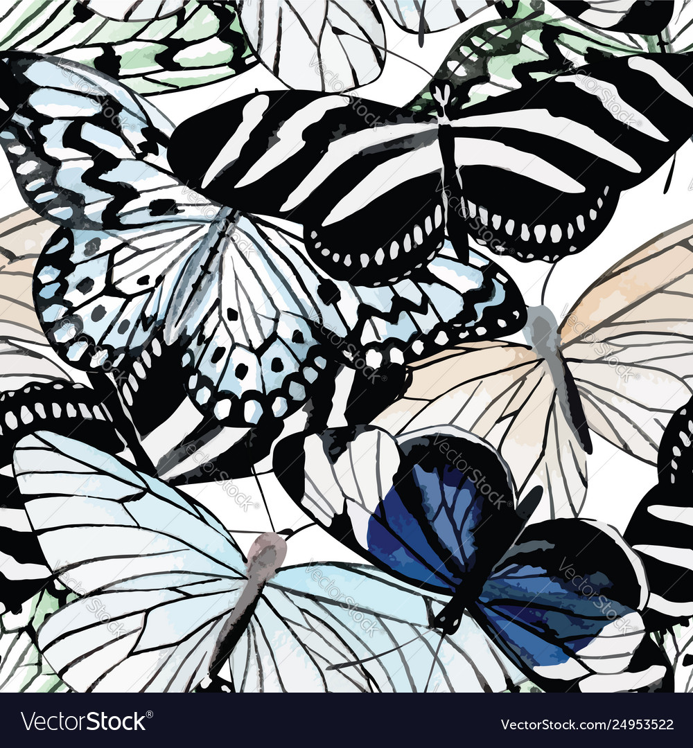 Butterflies black and white watercolor seamless