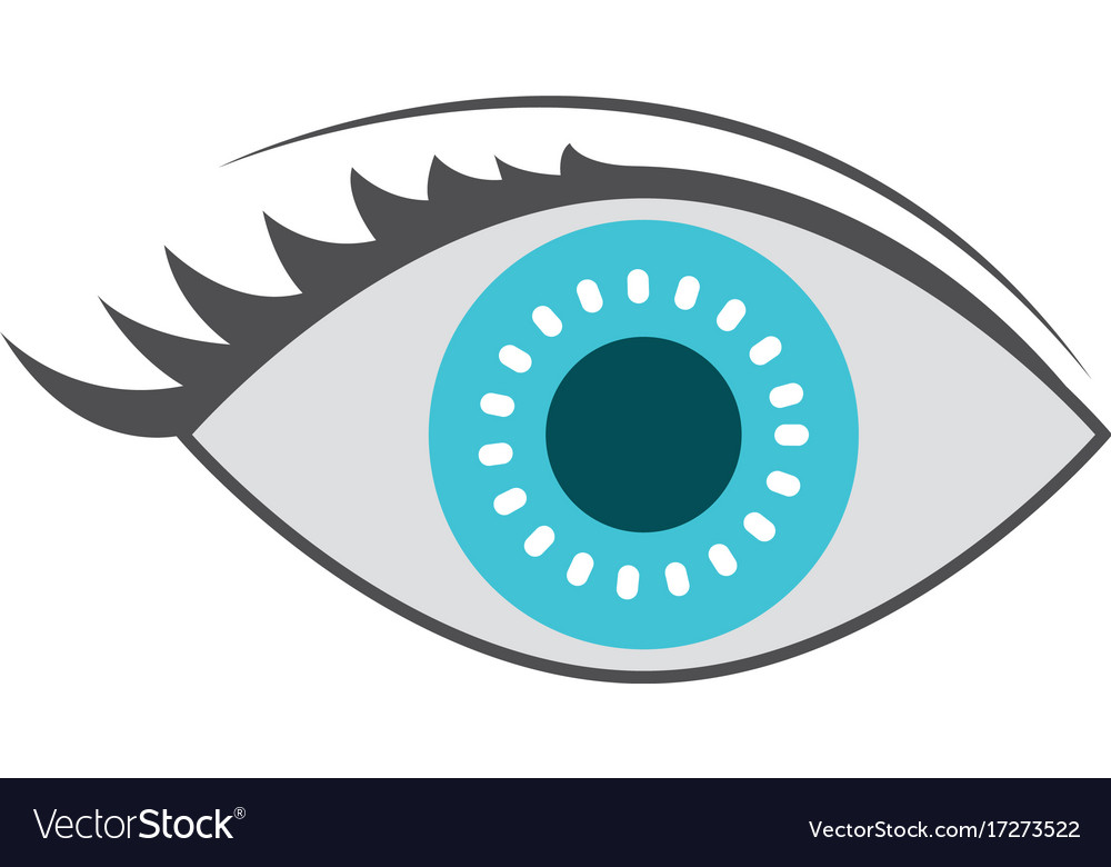 Eye icon with iris in blue color
