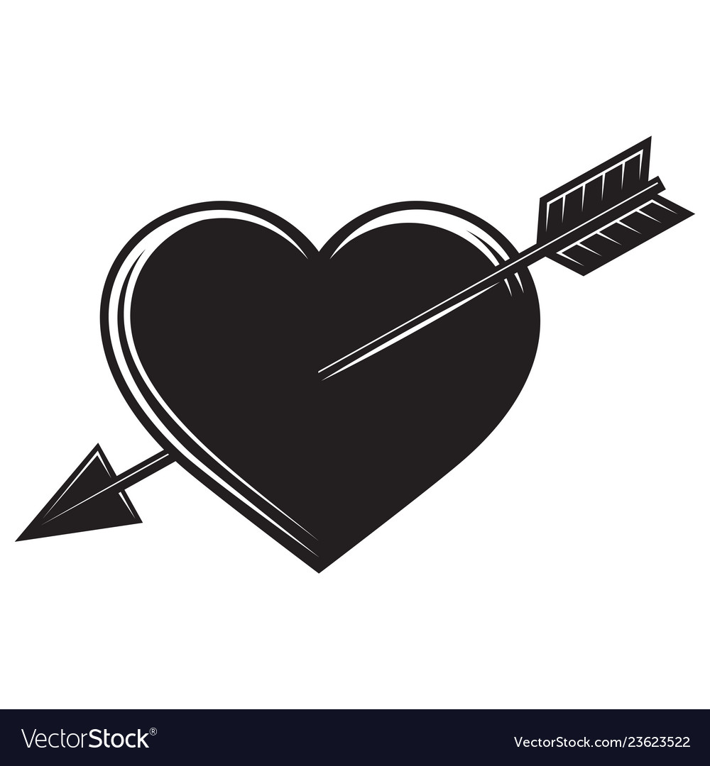 Monochrome with an arrow in the heart