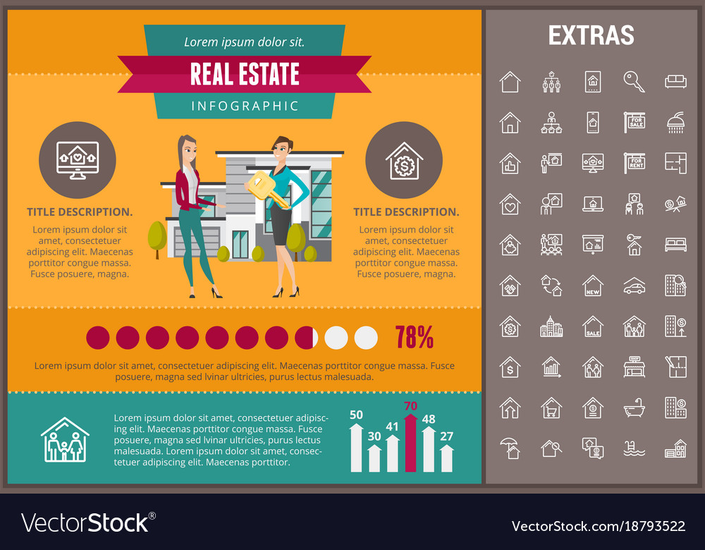 real estate infographic template elements icons vector image