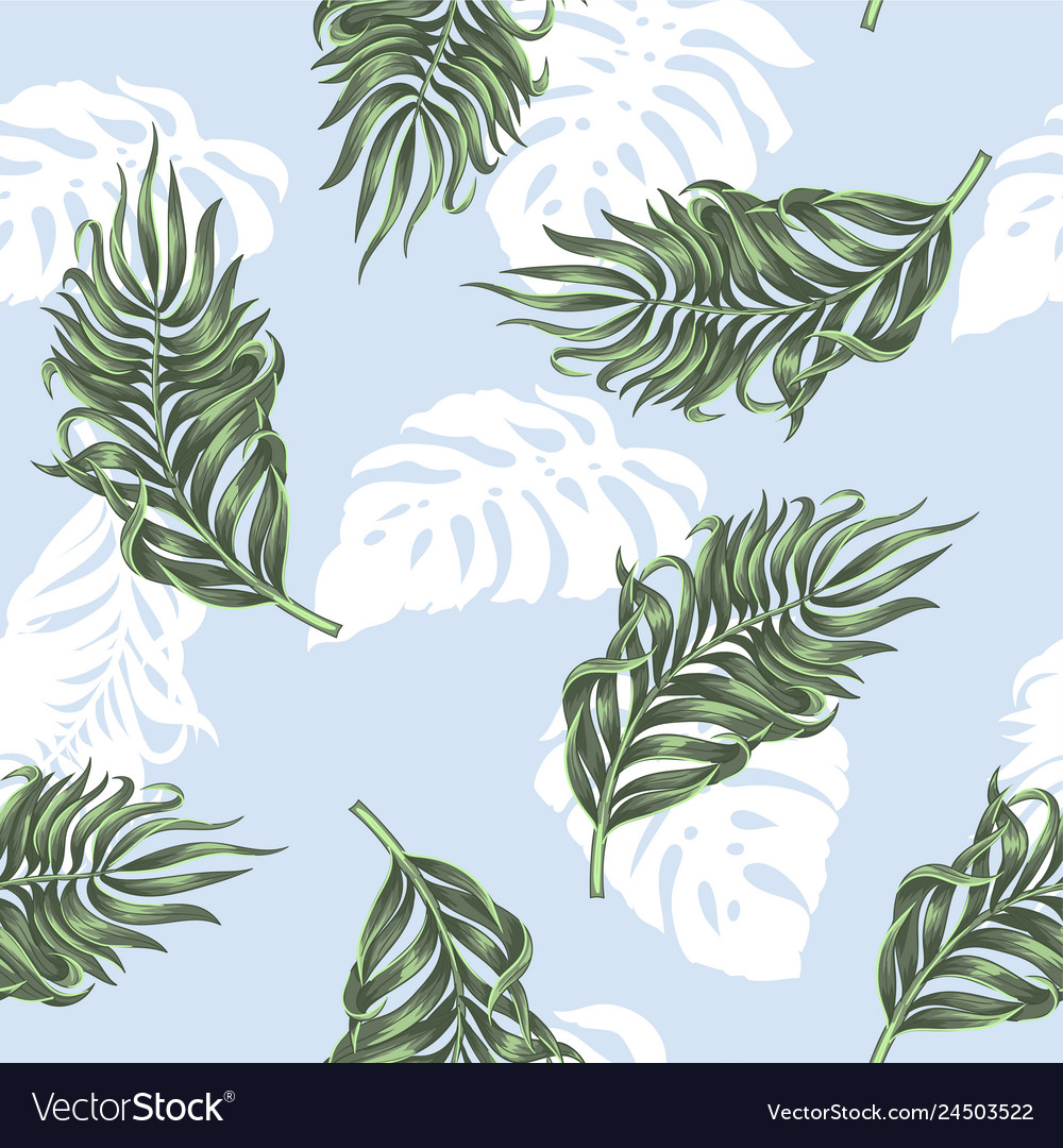 Seamless pattern with tropical palm and monstera