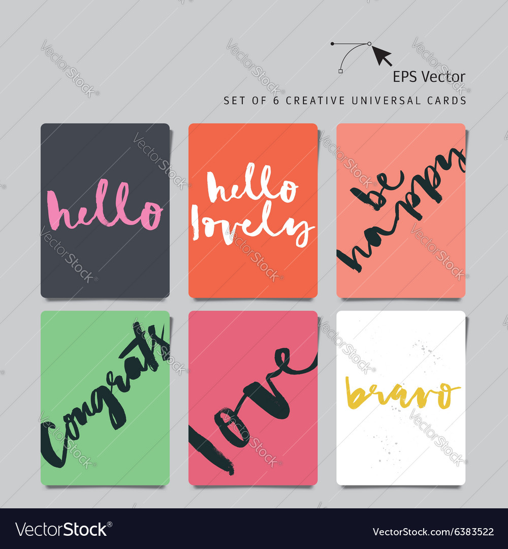 set of 6 universal creative cards hand lettering vector image