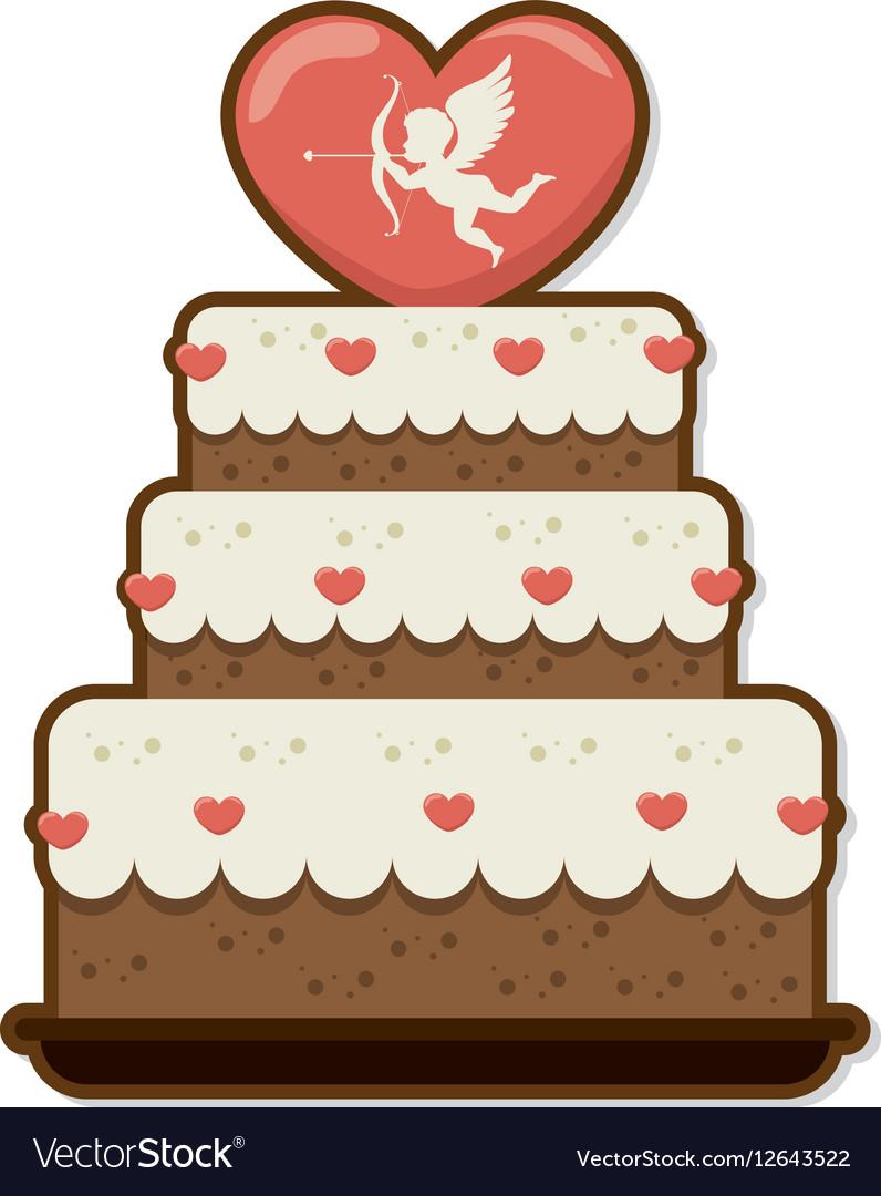 Sweet cake love celebration vector image