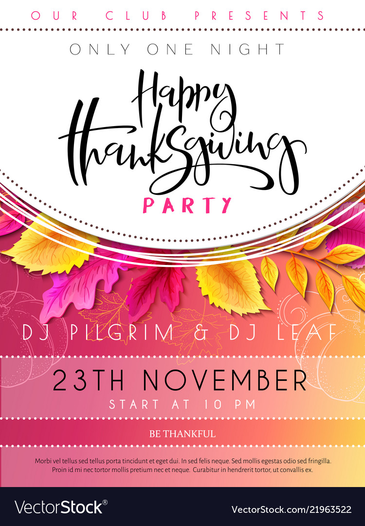 Thanksgiving party poster