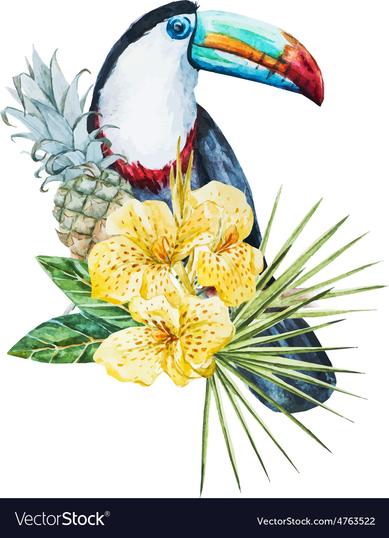 Watercolor flowers with toucan