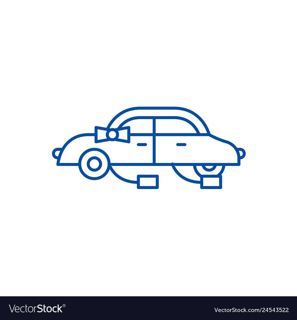 Wedding car line icon concept wedding car flat