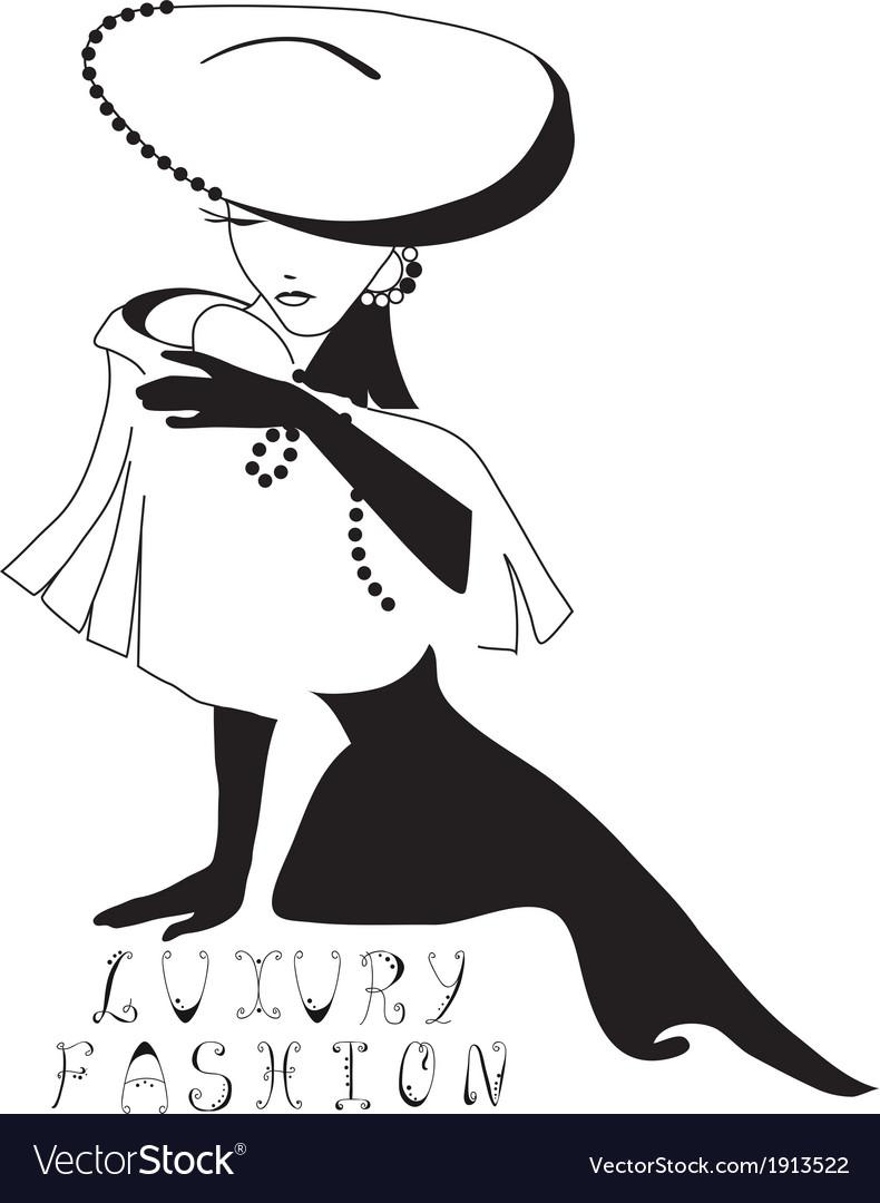 Woman vintage silhouette vector image