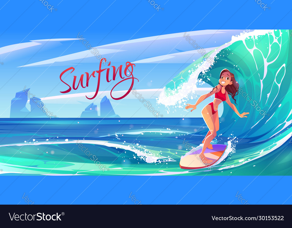 Young surf girl riding ocean wave on board banner
