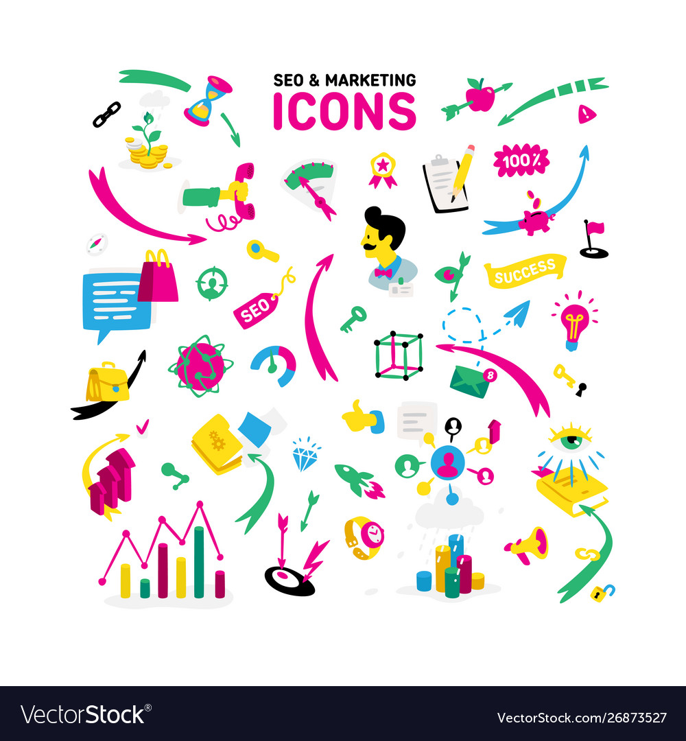 A set icons on theme ceo and marketing
