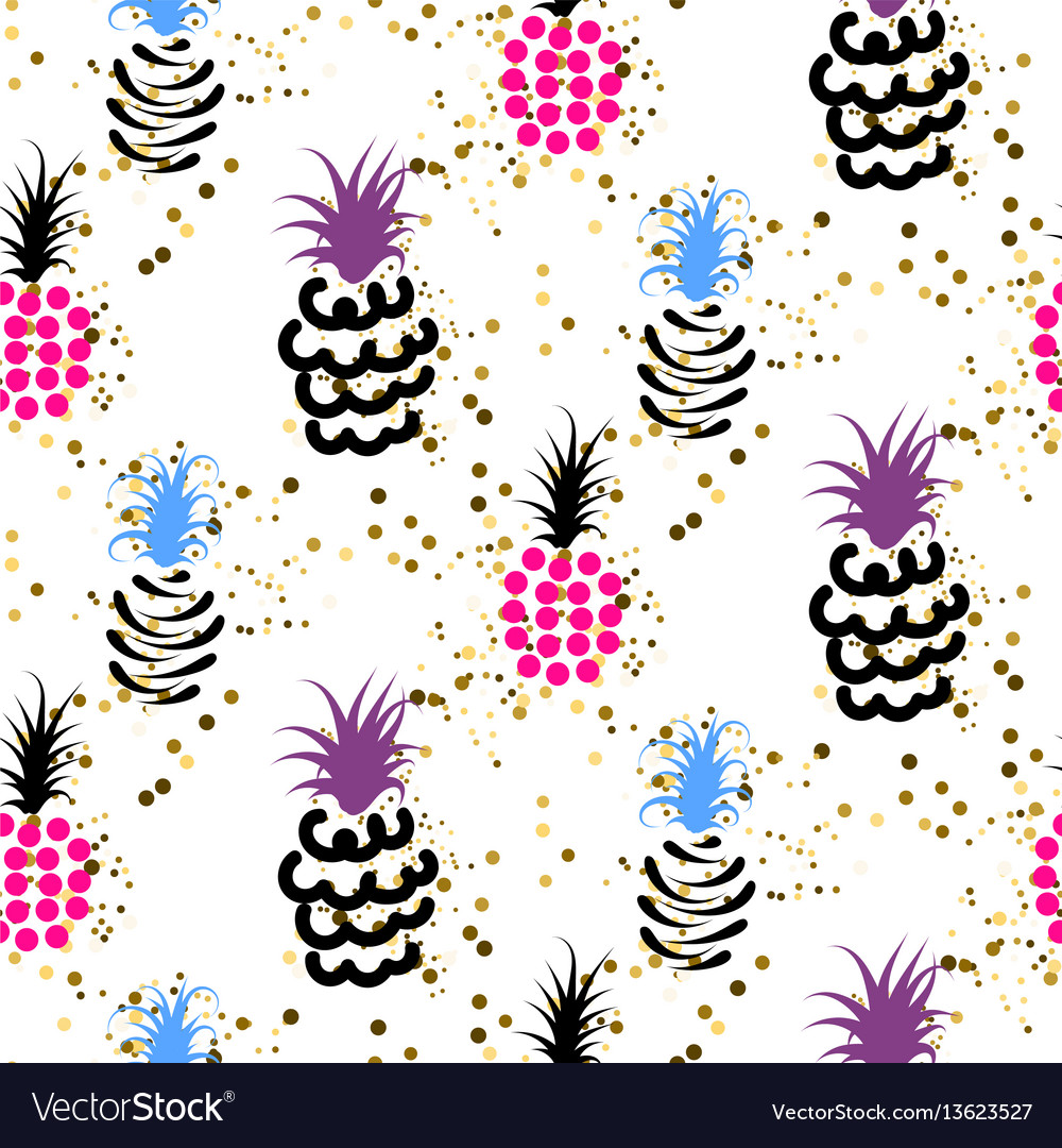 Abstract pineapple with gold glitter bright colors
