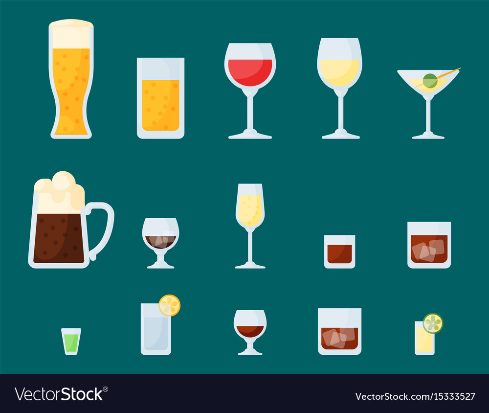 Alcohol drinks beverages cocktail lager container vector image