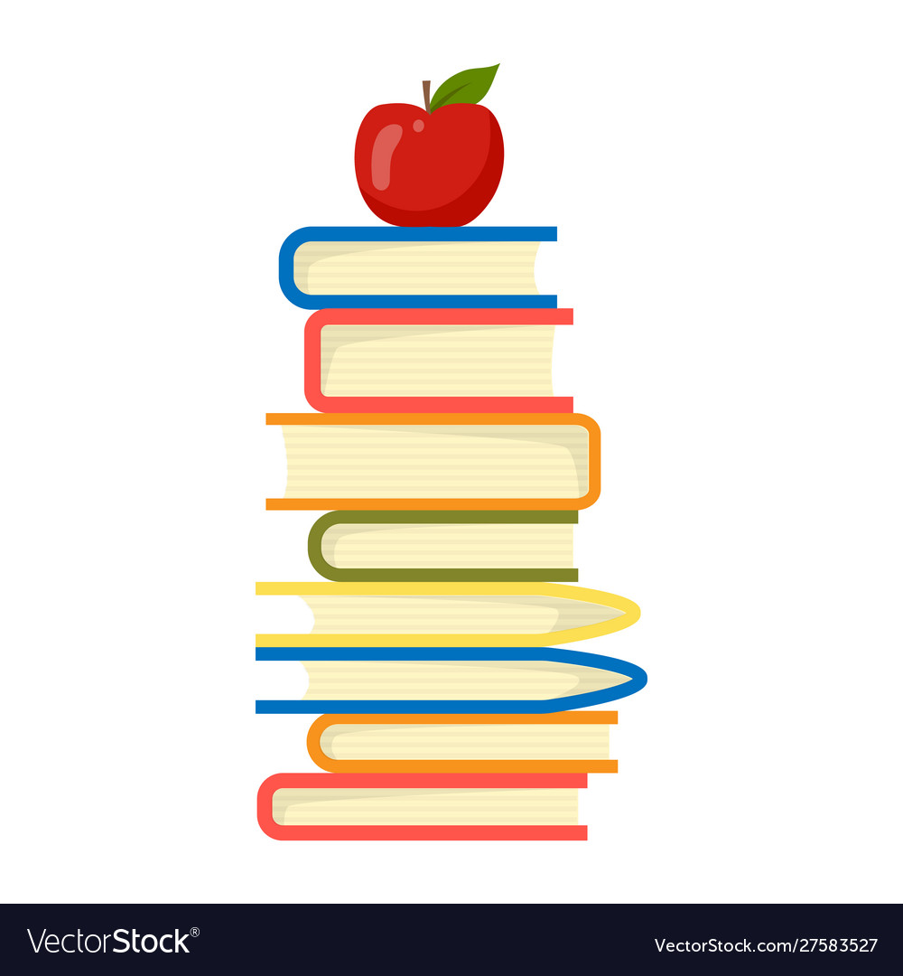 Apple on top stack books white background