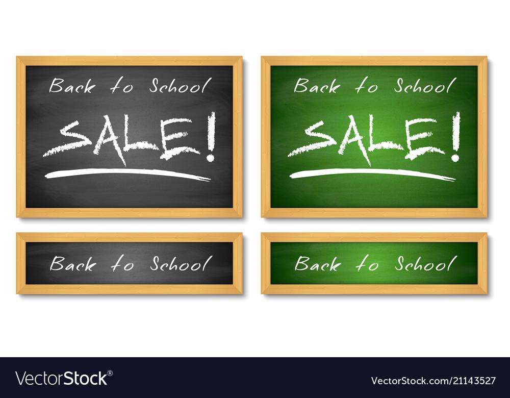 Back to school sale banners wooden chalkboard