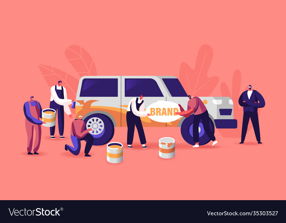 Characters painting car making airbrushing change