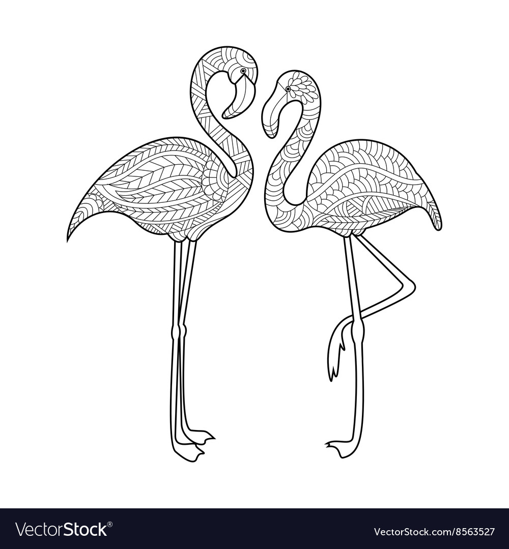 Flamingo coloring book for adults