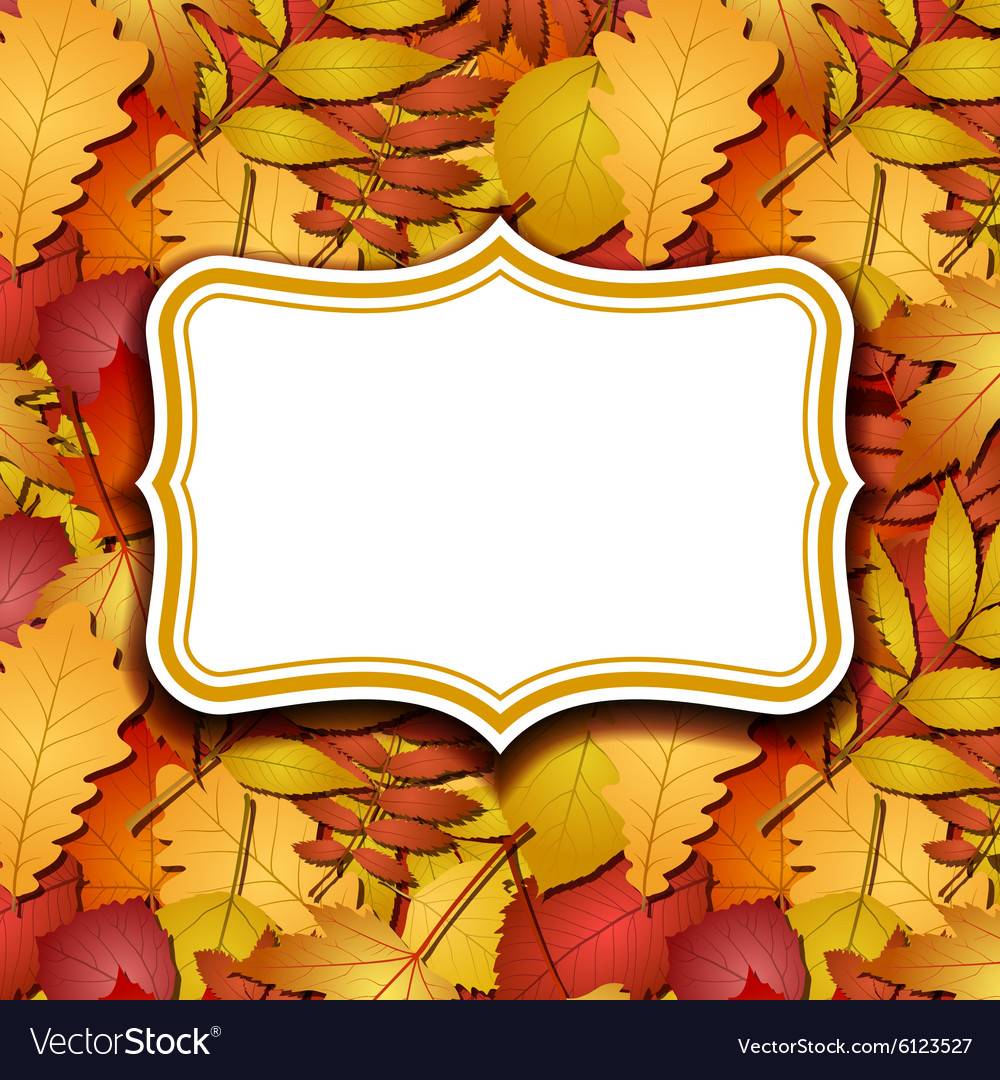 Frame labels on background with autumn leaves